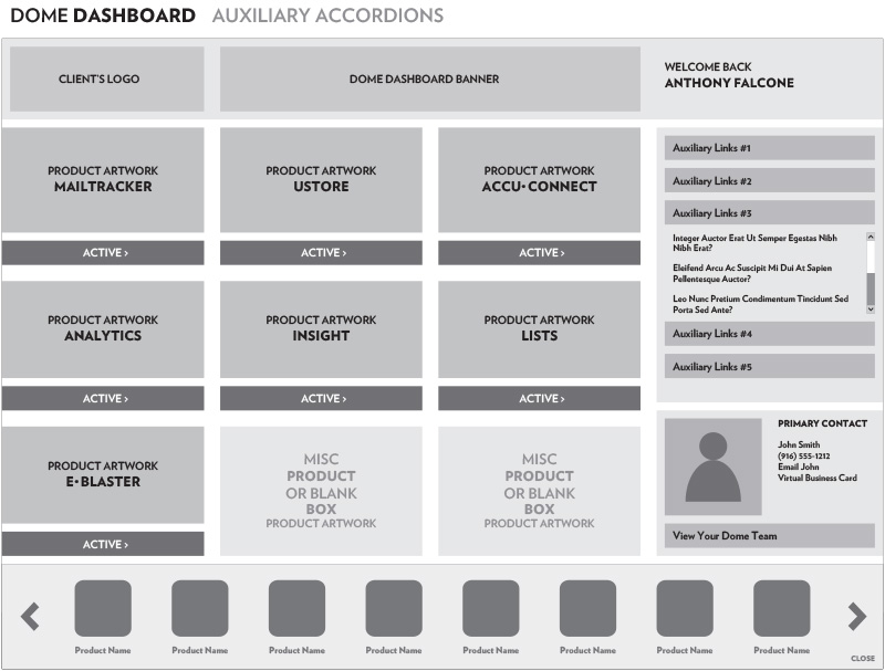 Dome Dashboard: Auxiliary Accordions